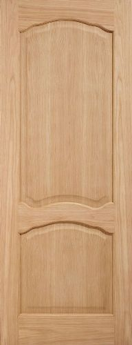 Internal Oak Pre-Finished Louis Half Hour Fire Door Non Raised Mouldings